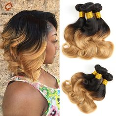 (78.55$)  Watch more here - http://aigcg.worlditems.win/all/product.php?id=32682832481 - Summer Ombre Brazilian virgin hair Bob Ombre human hair weaves 3pcs a lot  ,cheap ombre body wave hair bundles 2 tone ombre