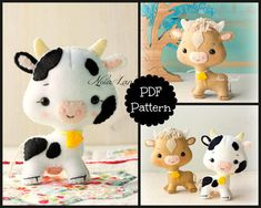 This PDF hand sewing pattern will give you instructions and patterns to make the cute cow and ox pictured. Size: 5 approximately. Language: English THIS IS NOT A FINISHED DOLLS. THIS PDF e-Pattern includes: . Step by step photo tutorial. . A material and supply list. . Full size pattern pieces just Print and Sew! (No need to enlarge or resize!) Skill Level: intermediate Items made using this pattern may be sold in your own shop. Mass production, re-sale and distribution of pattern piece...