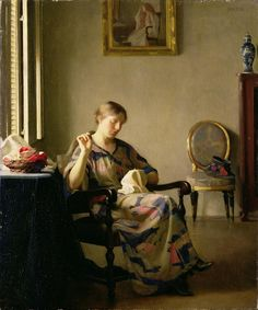 """""""Woman Sewing"""", 1913 ~ American Impressionist Painter, William McGregor Paxton (1869-1941) - can really see influence of Vermeer, here.  Also love Paxton's """"Girl Combing Hair"""" (1909) on the wall!"""