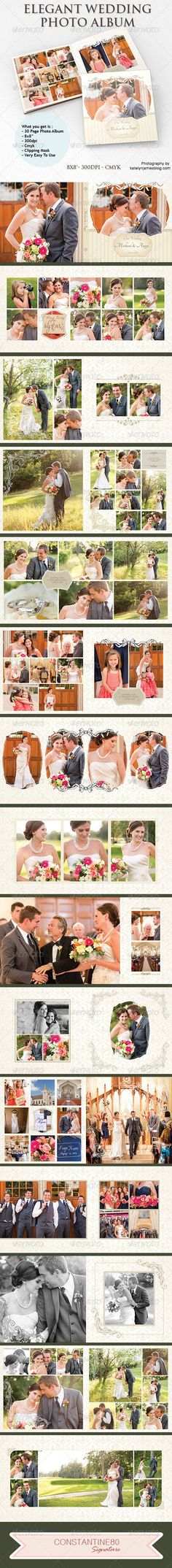 "Elegant Wedding Photo Album  #GraphicRiver         What you get is :  	 Photo Album 8""x8"" Color mode: CMYK Resolution: 300 DPI Total Dimensions: 4838×2438px  	 Total is 15 items    —-—-—-—-- Fonts used: Trajan Pro  .myfonts /fonts/adobe/trajan/ Tangerine  .dafont /search.php?q=tangerine     	 How To Use:put your Picture above layer "">>>PHOTO Created: 1September13 GraphicsFilesIncluded: PhotoshopPSD Layered: Yes MinimumAdobeCSVersion: CS4 PrintDimensions: 8x8 Tags: 10x10 #12x12 #8x8"