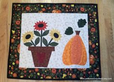Applique Sunflowers and Pumpkin Quilted by PatsPassionQuilteds, $45.00