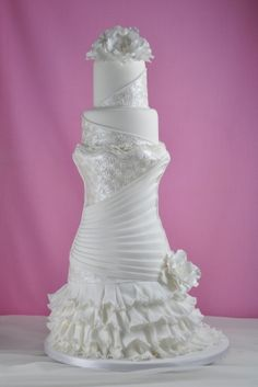 Why do we like wedding dress cakes? Check spectacular cake designs out here. Choose wedding dress cake for bridal shower from our collection! Amazing Wedding Cakes, White Wedding Cakes, Elegant Wedding Cakes, Elegant Cakes, Wedding Cake Designs, Amazing Cakes, Gorgeous Cakes, Pretty Cakes, Cute Cakes