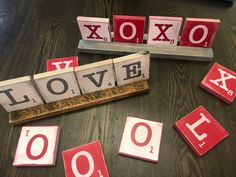 Items similar to Rustic over-sized Valentines Scrabble tiles with wooden tray fa. Items similar to Rustic over-sized Valentines Scrabble tiles with wooden tray farmhouse style Love Valentine Day Love, Valentine Day Crafts, Holiday Crafts, Holiday Fun, Valentine Ideas, Valentine's Day Quotes, Crafts To Sell, Diy Crafts, Wood Crafts
