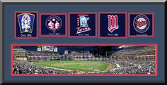 Minnesota Twins Metropolitan Double Framed & Double Matted With Minnesota Twins Wool Felt Logos