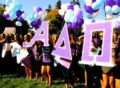 Alpha Delta Pi Bid Day #AlphaDeltaPi #ADPi #BidDay #letters #balloons #sorority