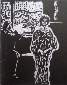 Kirchner, Besuchszene (scène de visite), 1906, bois, 28,3 x 22,7 cm