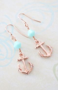 Lucky Rose Gold Anchor Earrings Mint Beads simple