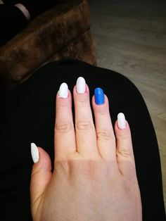 World Championship nails (white: Swan by Kicks, blue: Rebel Royal by Lumene) Meanwhile In Finland, White Swan, White Nails, Rebel, Kicks, Blue, White Nail Beds, White Nail