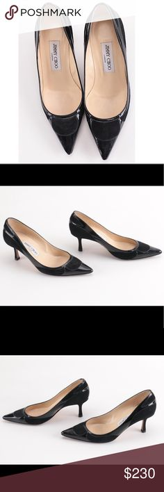 """JIMMY CHOO 👍👍Black Suede Patent Leather Pumps GORGEOUS Jimmy Choo black suede and patent leather pumps. Kitten heel, ~2"""" heels. Made in Italy. European size 36 = US 5.5 or 6. 🌷🌹Beautiful and versatile! Minor wear on soles, everywhere else is in IMPECCABLE CONDITION! Rare find!👍👍 Jimmy Choo Shoes Heels"""