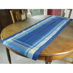 Ruban Blue French Jacquard Table Runner by La Maisonnette. $42.99. Jacquard weave runner, measuring 21 by 63 inches.. Imported. Colorfast, 100% cotton and machine washable.. A very complex process, perfected in France in the 19th century.. Jacquard weave means the design is woven and not printed. Jacquard weave runner, measuring 21 by 63 inches. Jacquard weave means the design is woven and not printed, and it's a very complex process, perfected in France in the 19th...