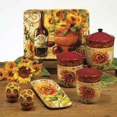 Sophisticated Sunflower Décor for Serenity Ambience: Gorgeous Sunflower Kitchen Decor Table Ware Tuscan Artistic Design ~ ozvip.com Kitchen Designs Inspiration