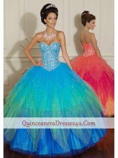 Blue/Green & Pink/Orange quinceanera dresses -