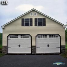 24x24 Two Car Two Story Garage Vinyl Siding Stone Front A Frame Roof Garage Door Styles Carriage Garage Doors Garage Door Design