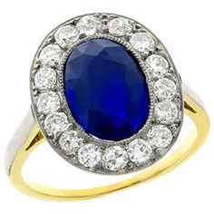 Antique 4.23ct Ceylon Sapphire 1.10ct Diamond Engagement Ring