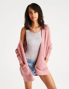 AE Waffle Knit Boyfriend Cardigan by  American Eagle Outfitters | Sweater weather forever.Sweater weather forever. Shop the AE Waffle Knit Boyfriend Cardigan and check out more at AE.com.
