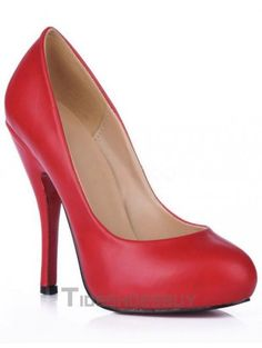 Red Almond Toe Red Bottom PU Womens Pumps