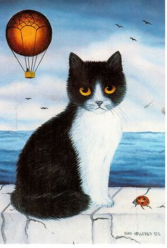 Cute cat painting by Anna Hollerer-Wischin.  Card sent by Postcrosser in Japan. (Postcrossing JP-268145)