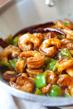 Sizzle up the #skillet tonight with some Kung Pao Shrimp by Rasa Malaysia