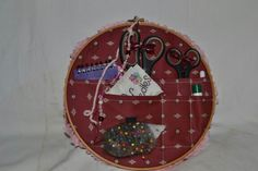 Hoop Sewing Caddy with pocket for box of threads at the back