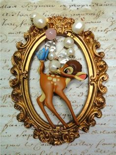 beautiful shabby BAMBI deer fawn forest animal light peach enamel necklace vintage
