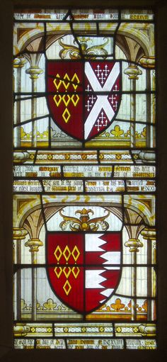 Heraldic detail from the east window of St. Michael's Church at Baddesley Clinton, Warwickshire, England.  Features the arms of various members of the Ferrers family.
