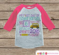 Girls First Day of Kindergarten Outfit - Personalized Kindergarten Stats Shirt - Kids Stats Pink Raglan - Girls My 1st Day of School Outfit by getthepartystarted on Etsy https://www.etsy.com/listing/271830936/girls-first-day-of-kindergarten-outfit