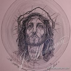 This iconic image of Christ is created from a single line that spirals around itself exactly 175 times. A Jake Weidmann original. Calligraphy Lines, Calligraphy Letters Design, Lettering Design, Local Artists, Famous Artists, Life Of Jesus Christ, Images Of Christ, Modern Artists, Line Art