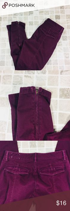 Loft pants zipper at bottom Marisa cut 6 No flaws! Burgundy Length 36 inseam 28 Rise 8 1/2 Waist 16 flat LOFT Pants Ankle & Cropped