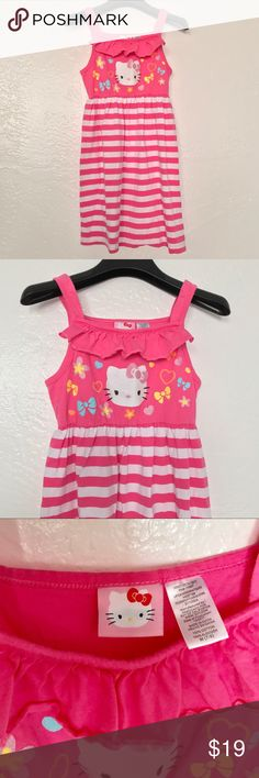 NWOT Hello Kitty Striped Girls Dress Sz Med 7/8 NWOT Hello Kitty Striped Girls Tank Dress Size Medium (7/8)  Reasonable offers welcome! 20% off bundles! No returns or trades please! Smoke- & pet-free home Hello Kitty Dresses Casual