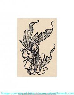 Stickbild Stickemblem  Koi Wassertiere