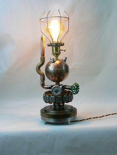 Steampunk'd, Victorian, Gauges, Edison, Copper, Brass, Lamp, Gears, Art, Rivets, MasterGreig - MG-070