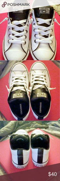 NWT Converse All Star Chuck Taylor Slip-on Shoes Brand new and have NEVER been worn. White and black, unisex low top All Star Chuck Taylor slip-on shoes. Leather uppers and rubber outsoles. I WISH these shoes would fit me! But they're too big, unfortunately. These sneakers are seriously even more gorgeous in person. Wanna see?  ALL OFFERS WELCOME! Converse Shoes Sneakers