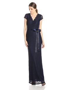 Adrianna Papell Women's Cap Sleeve Wrap Front Lace Mermaid Gown, Navy, 4. Long lace wrap front gown. V-neck long lace dress with cap sleeves.