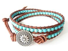 Turquoise leather wrap bracelet southwestern style, native american inspired bead jewelry for her, boho fashion for fall