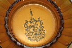 """The Durant. Amber glass hotel ashtray. Berkeley, California. Vintage 1950s travel advertising. 4.5"""" wide opening. 3"""" wide base. Scrapes to bottom from storage."""