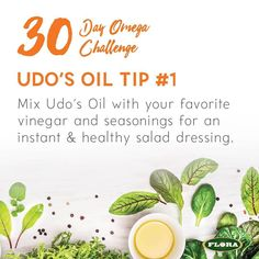 Day 3 of the #30DayOmegaChallenge: Expert tip from Udo Erasmus...add Udo's Oil to your favorite vinegar and seasonings for an instant and healthy salad dressing. Incorporating omegas into your diet does not have to be complicated! Comment on our fb to enter to win a bottle of Udo's Oil today as well as a Vitamix blender at the end of the challenge! http://ift.tt/2aeOYmV #omegas #giveaway
