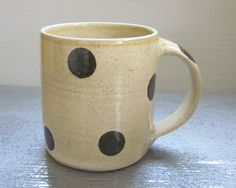large polka dotted coffee mug, $24.00