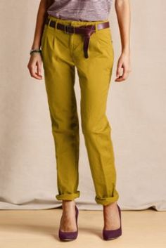 Women's Pleated Slim Slouch Chinos from Lands' End Canvas