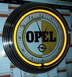 NEW OLD OPEL SIGN, NEONUHR GELB,WAND UHR,GARAGE,WERKSTATT,YELLOW NEON WALLCLOCK
