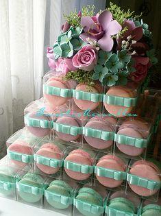 Pink & Aquamarine Macarons Tower