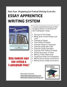 Preparing for Formal Writing - getting to the 5 Paragraph Essay
