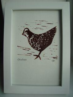 Chicken Lino Print