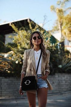 25 trendy fashion summer street sincerely jules - All About Black Women Fashion, New Fashion, Trendy Fashion, Womens Fashion, Fashion Trends, Fashion Online, Look Blazer, Blazer And Shorts, Denim Shorts Outfit