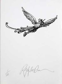 HST Rising High by Ralph Steadman, HST means Hunter S. Thompson, totally makes sense. I love this.