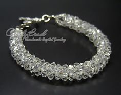 Swarovski Bracelet; Crystal Bracelet; Glass Bracelet; Pure white Crystal Bracelet by CandyBead by candybead, $20.00 USD