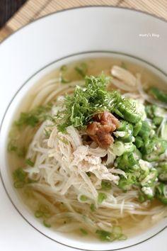 鶏肉とオクラのうめぇ~素麺 - 1ヶ月2万円の節約レシピ (マイティのブログ)