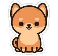 'Cute shiba inu' Sticker by peppermintpopuk Stickers Cool, Stickers Kawaii, Bubble Stickers, Anime Stickers, Printable Stickers, Cute Laptop Stickers, Cute Easy Drawings, Cute Kawaii Drawings, Kawaii Doodles