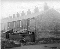 Radcliffe, Terraced housing adjacent to canal 1959  Terraced houses Bottom of Black Lane by canal 1959, photo taken from footbridge over Manchester, Bolton and Bury Canal.