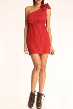This would look nice with cowboy boots.  Rieley One Shoulder Dress Beaded Petal In Red - Beyond the Rack