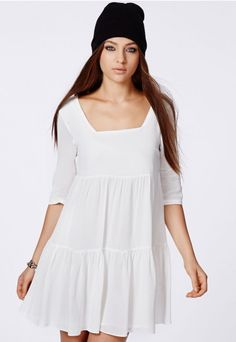 Mirabelle Tiered Smock Dress Cream - Dresses - Missguided